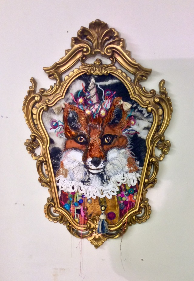fox face embroidery