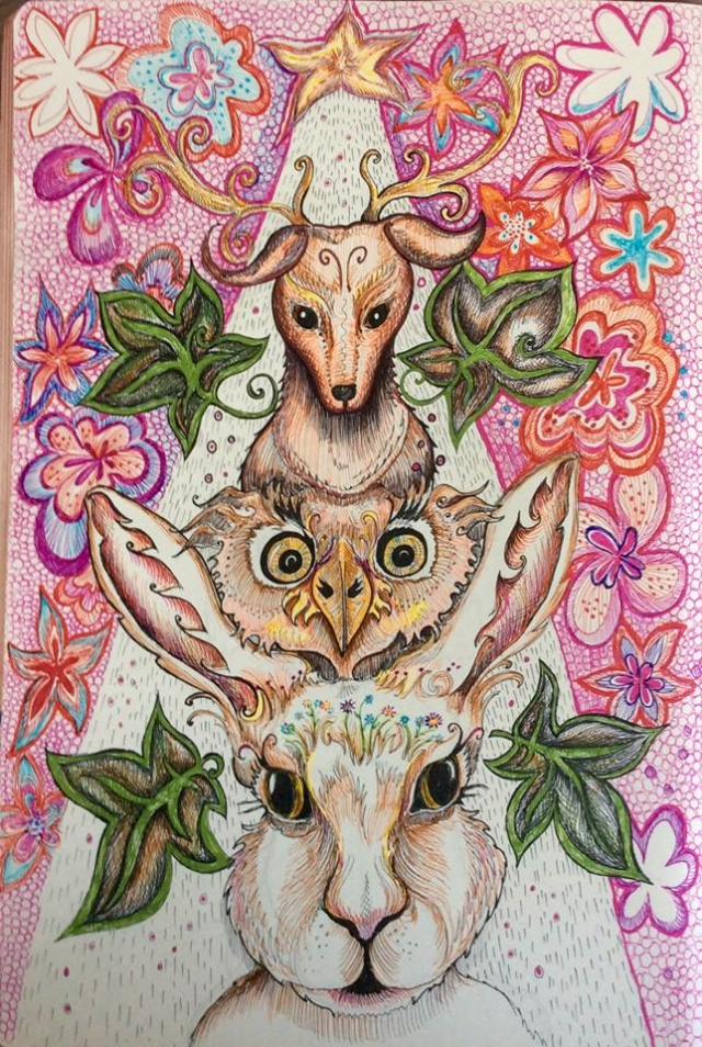 new year 2016 owl hare doodle